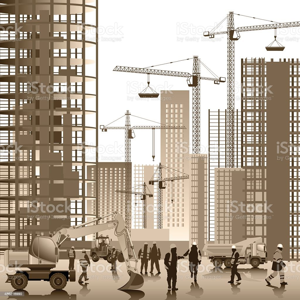 On the construction site vector art illustration