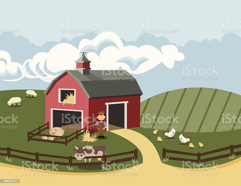 On the Farm vector art illustration