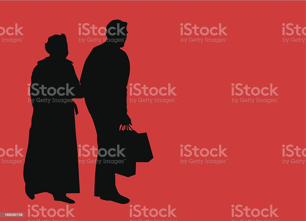 On the go shoppers ( Vector ) royalty-free stock vector art
