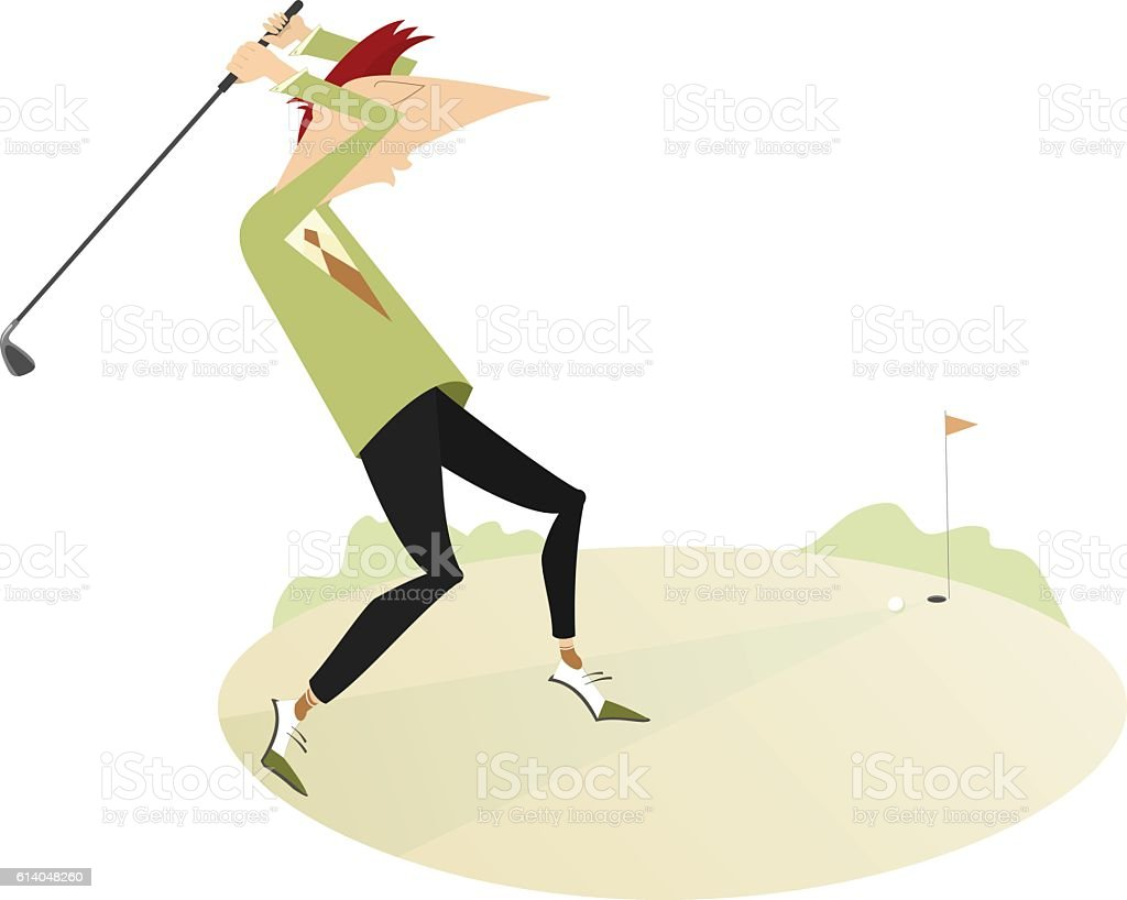 On the golf course vector art illustration