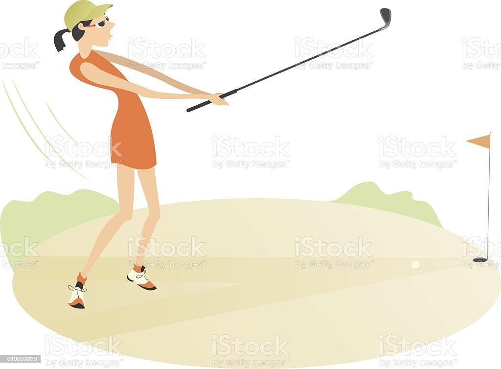 On the golf course vector art illustration