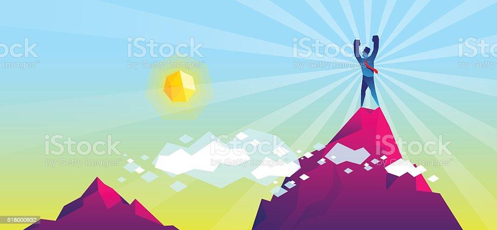 On the top of mountain vector art illustration