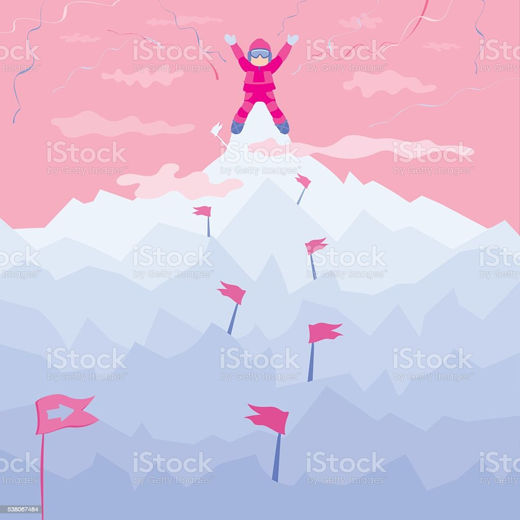 On the top of the mountain. vector art illustration