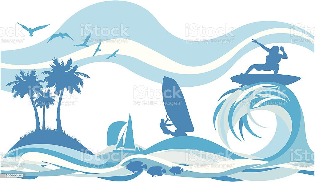 on the wave - water sports and recreation royalty-free stock vector art