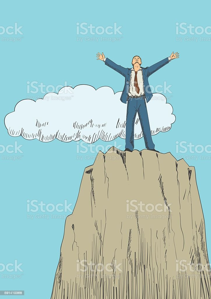 On Top Of The Mountain vector art illustration