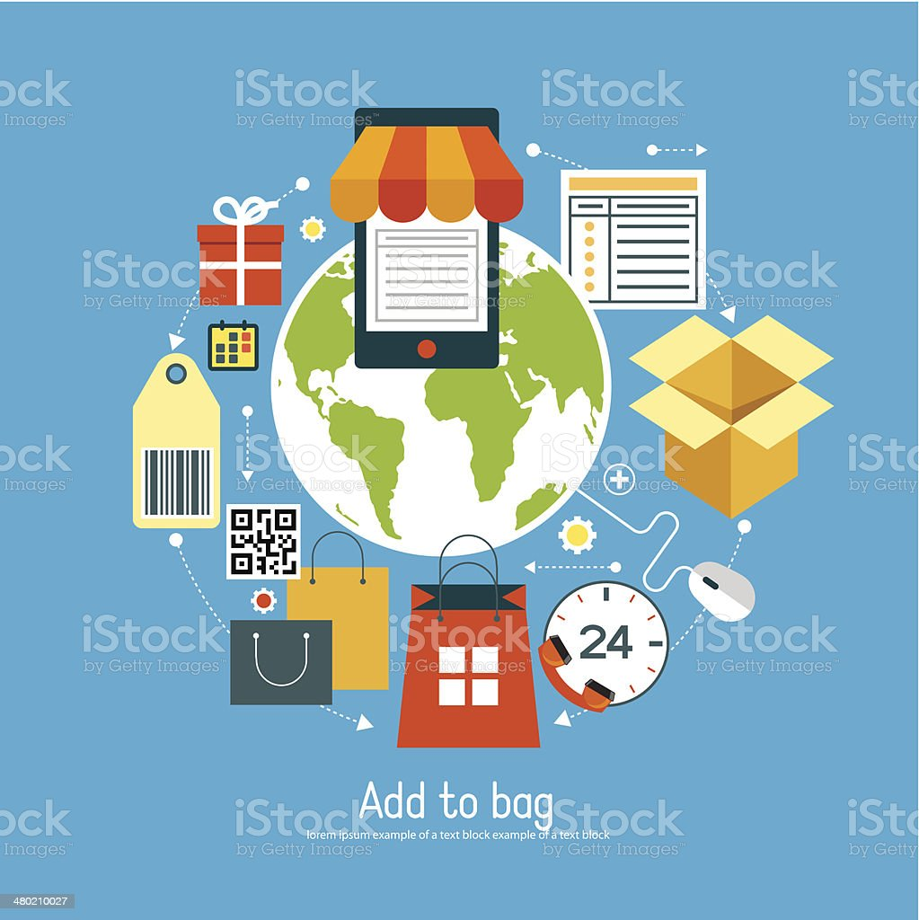 ?oncept e-commerce with set online add to bag icons vector art illustration