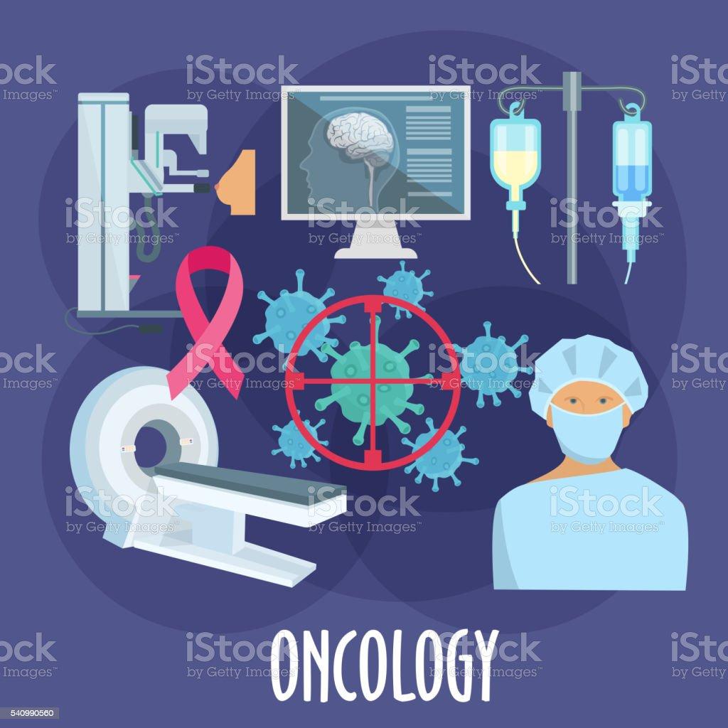 Oncology medicine flat icon for healthcare design vector art illustration