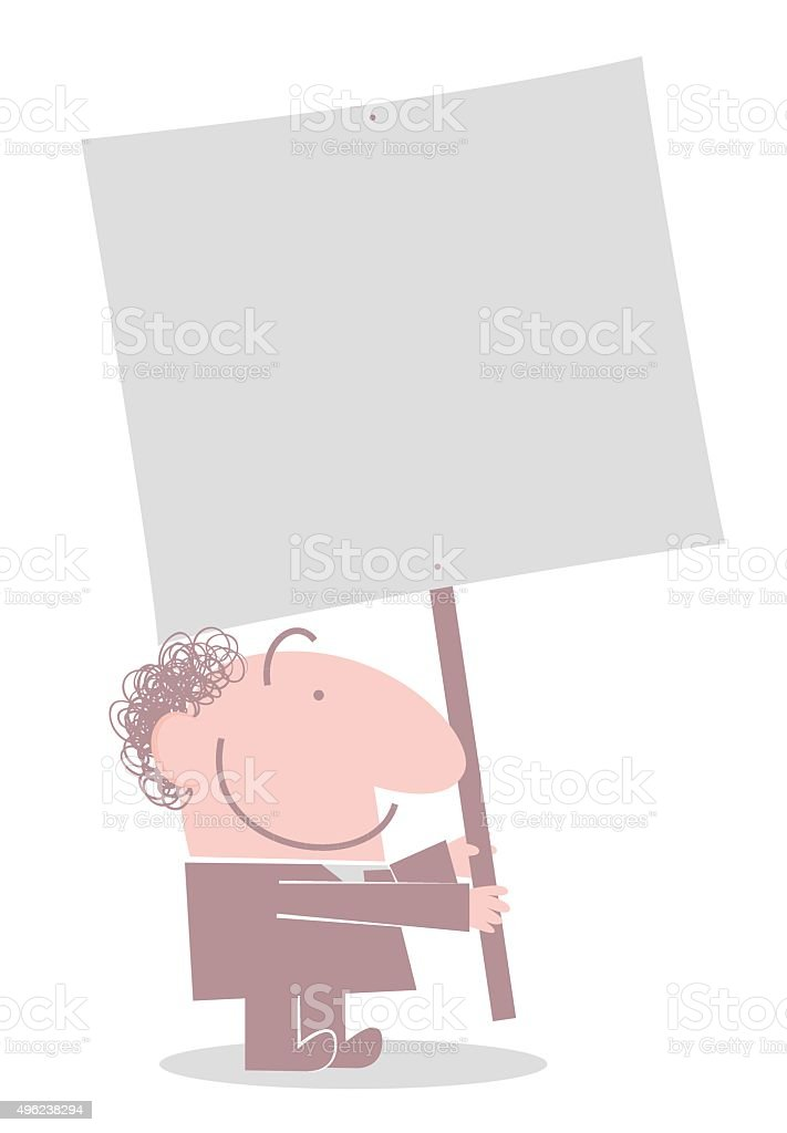 One bald smiling man (Businessman, Boss) holding a blank sign vector art illustration