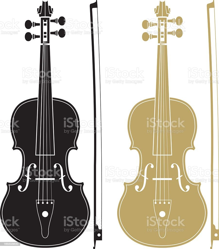 One black and one gold violin with matching bows royalty-free stock vector art