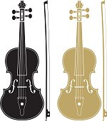 One black and one gold violin with matching bows