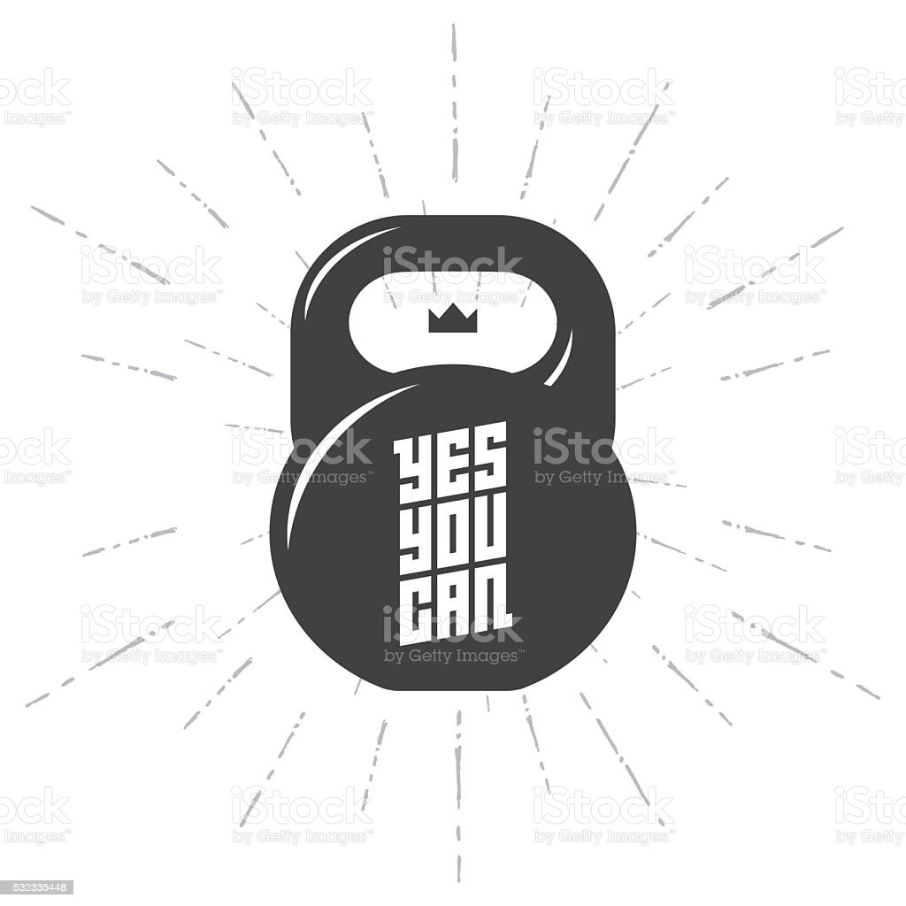 One black kettlebell on white background with motivation text vector art illustration