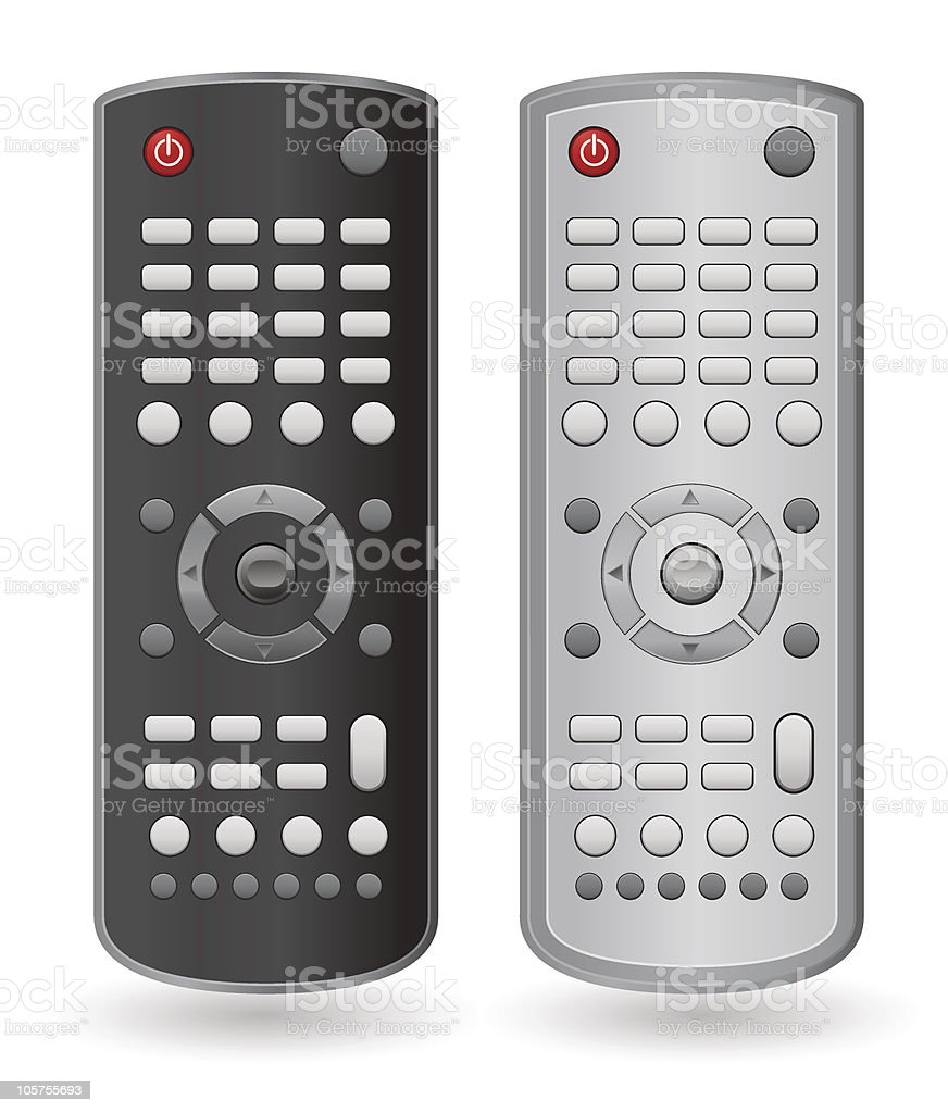 One black remote and one silver remote vector art illustration