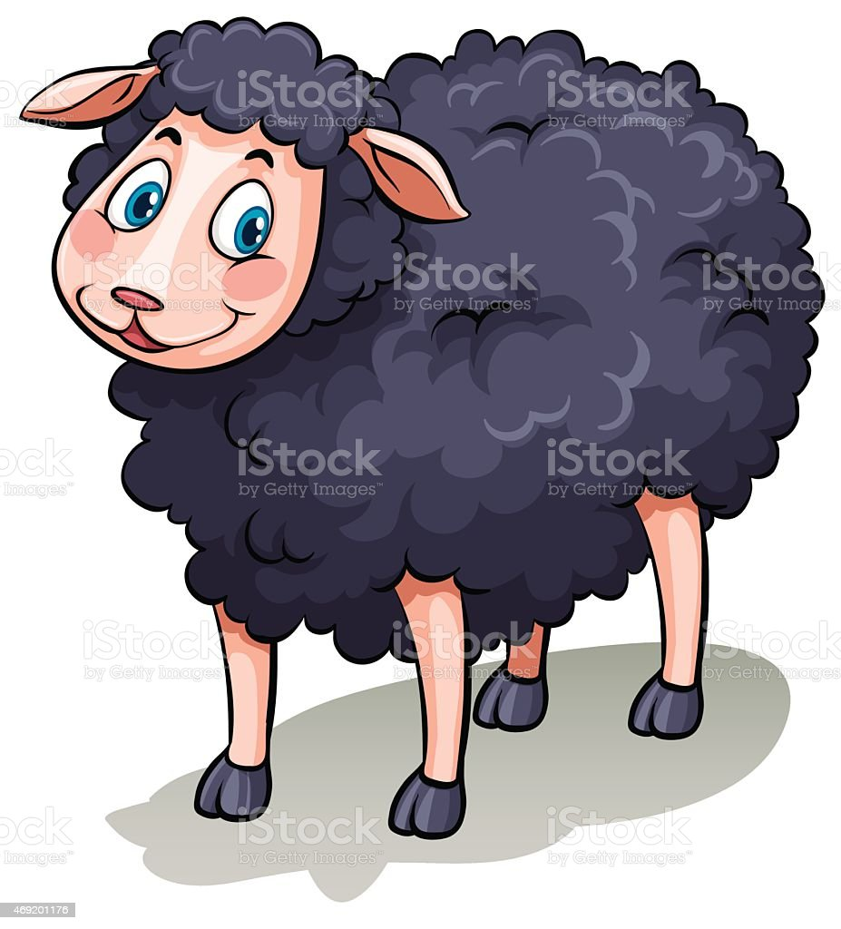 One black sheep vector art illustration
