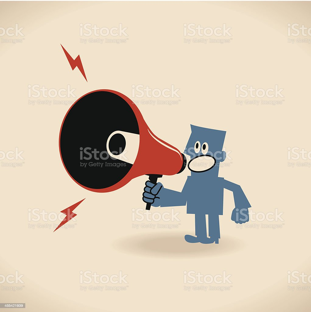 One business people (businessman) announcing (shouting) with a megaphone vector art illustration