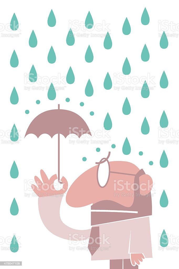 One businessman with a small umbrella in the rain vector art illustration