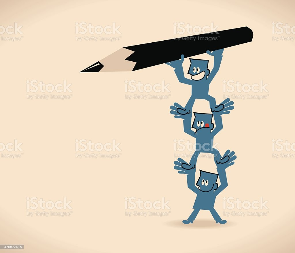 One businessman with pencil stands on the hands of coworker vector art illustration