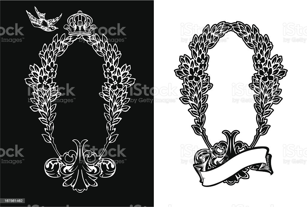 One Color Royal Ornate Vertical Heraldic Wreath. royalty-free stock vector art
