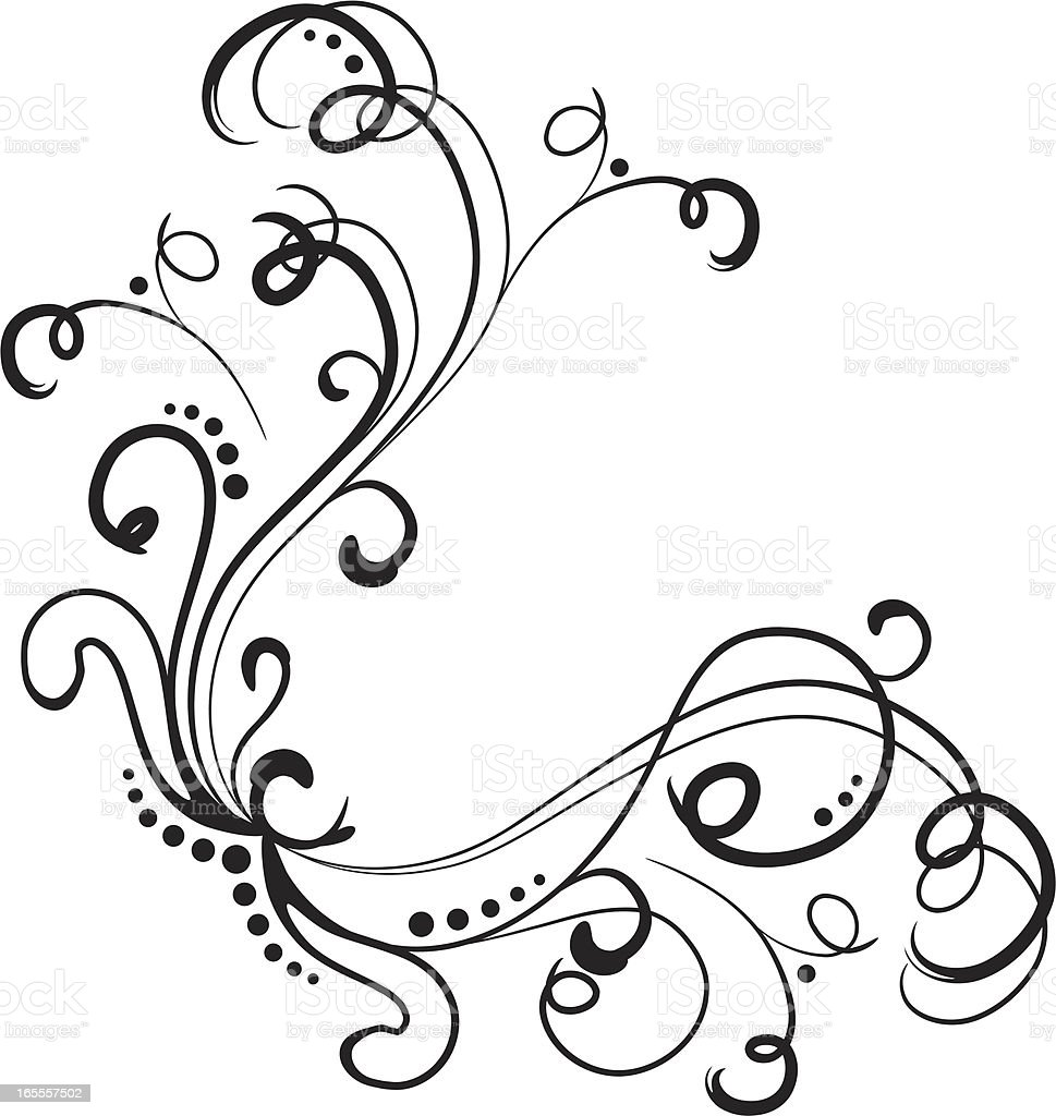 One credit - hand drawn vector corner design element royalty-free stock vector art
