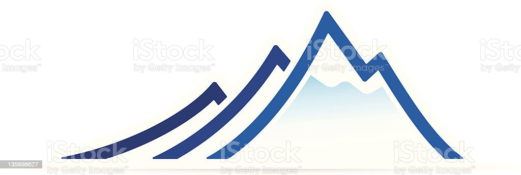 One credit mountain icon vector art illustration