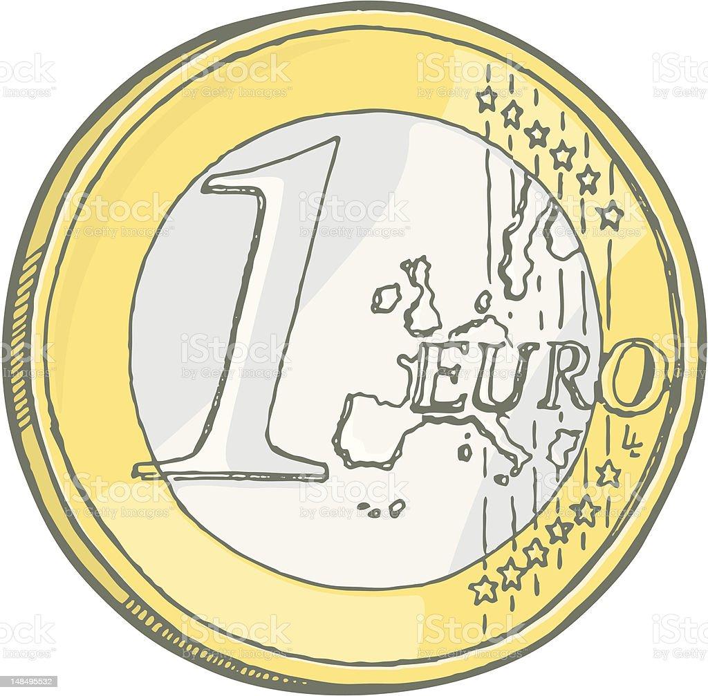 One euro coin sketch royalty-free stock vector art