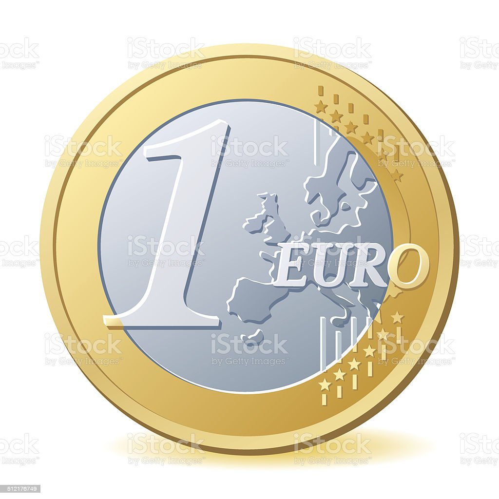 One Euro Coin vector art illustration