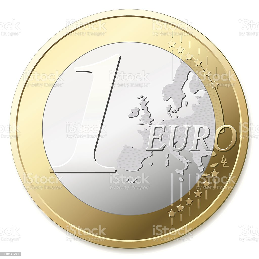 One Euro in silver and gold against white background royalty-free stock vector art