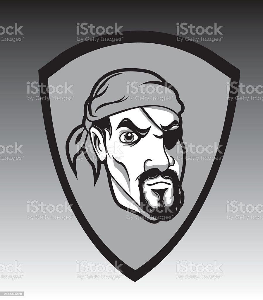 One eyed pirate vector art illustration