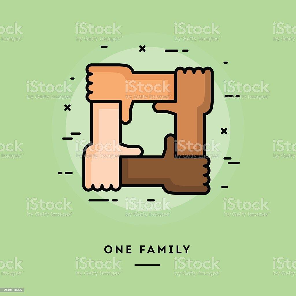 One family, flat design thin line banner vector art illustration