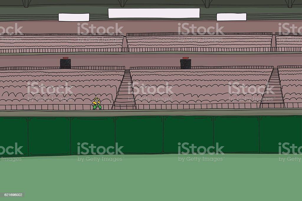One fan at empty stadium vector art illustration