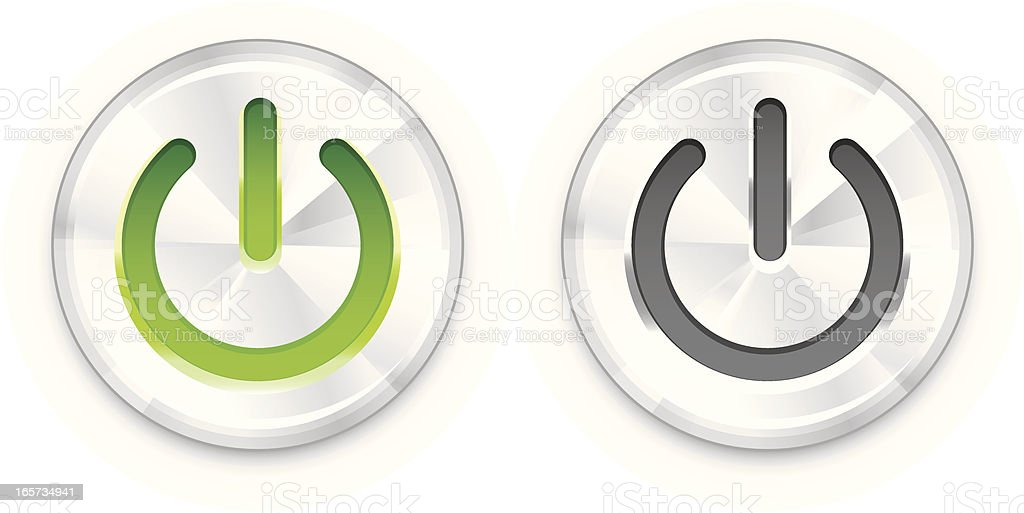 One green and one gray power button on white background vector art illustration