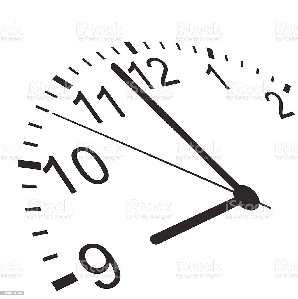 One half of an analog clock pointing close to 9 o'clock vector art illustration