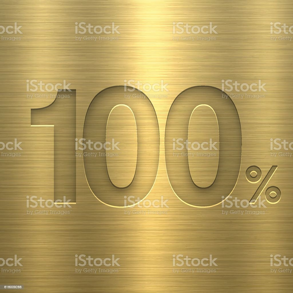 One Hund Percent (100%). Number on Gold Metal Texture vector art illustration