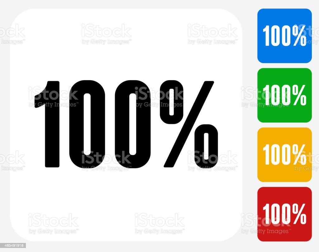One Hundred 100% Icon Flat Graphic Design vector art illustration