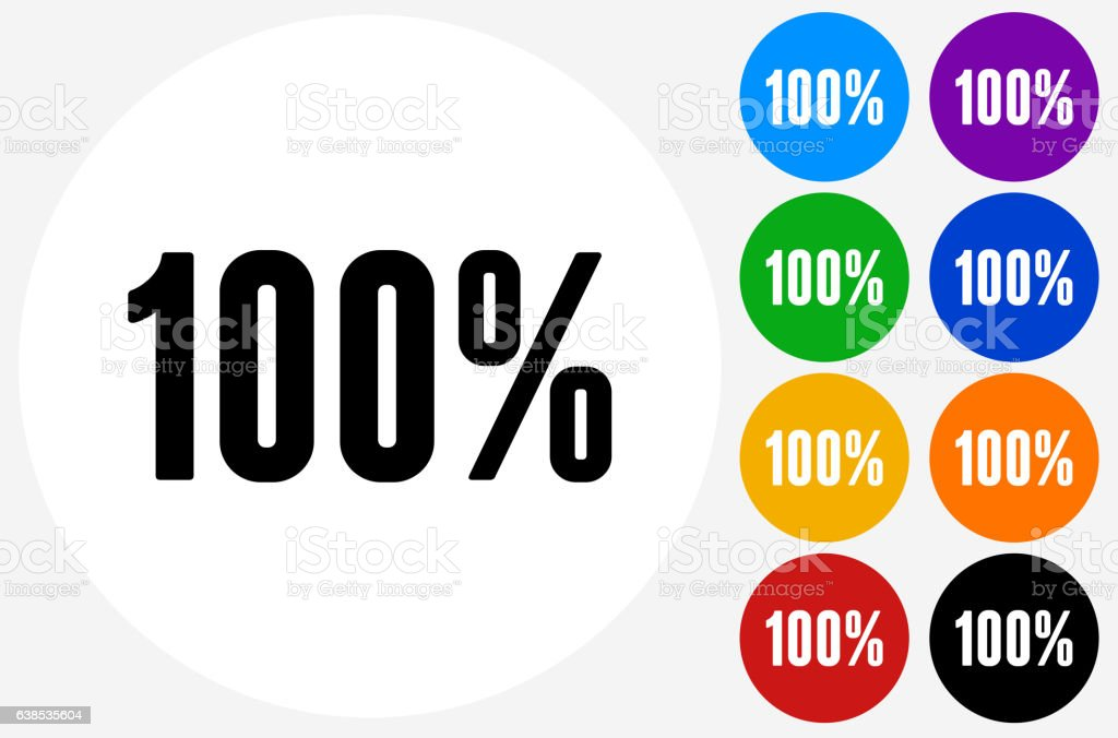 One Hundred 100% Icon on Flat Color Circle Buttons vector art illustration
