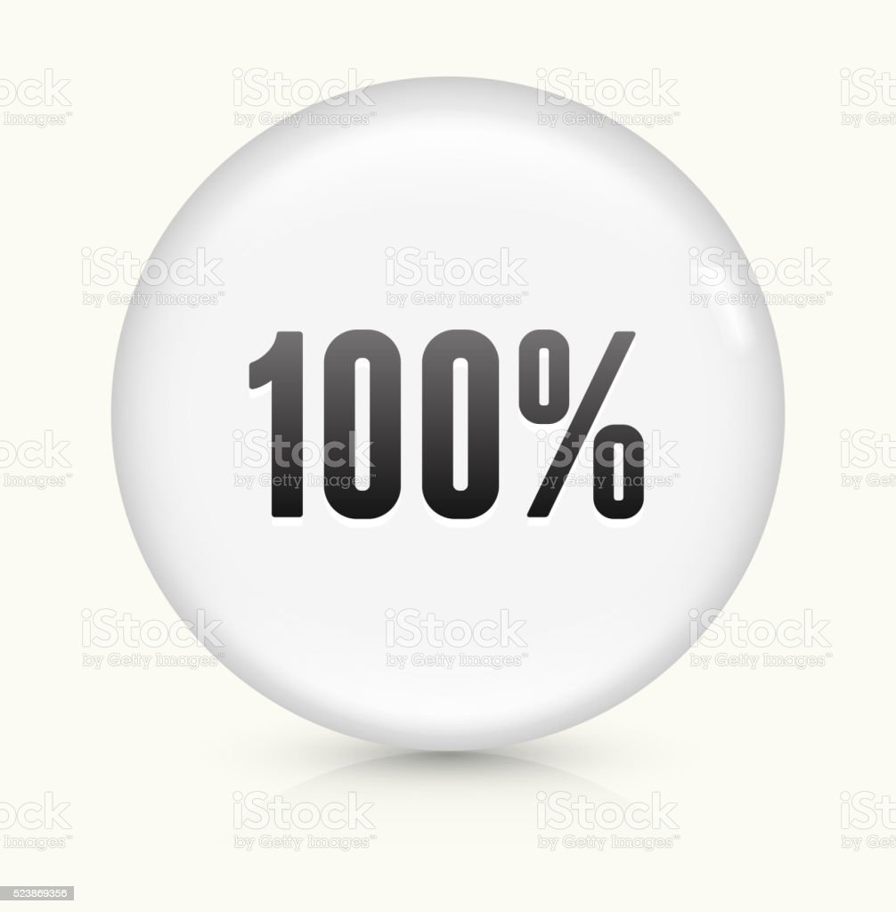 One Hundred 100% icon on white round vector button vector art illustration