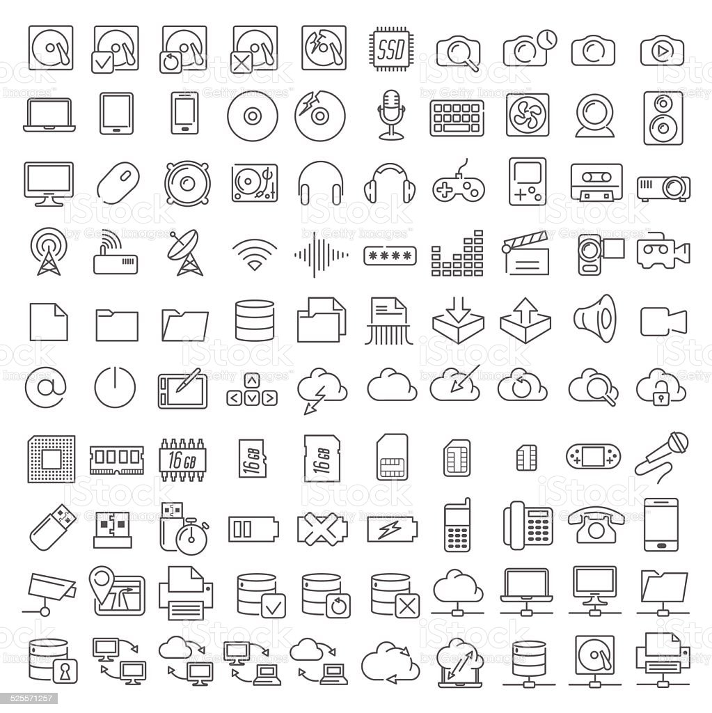One hundred icons of electronics and digital devices vector art illustration