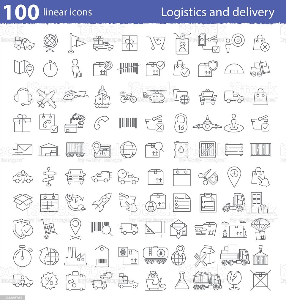 One hundred linear icons for transportation, logistics and deliv vector art illustration
