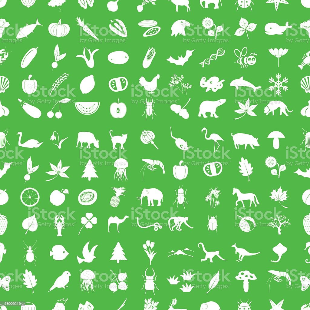 one hundred nature icons set green and white seamless pattern vector art illustration