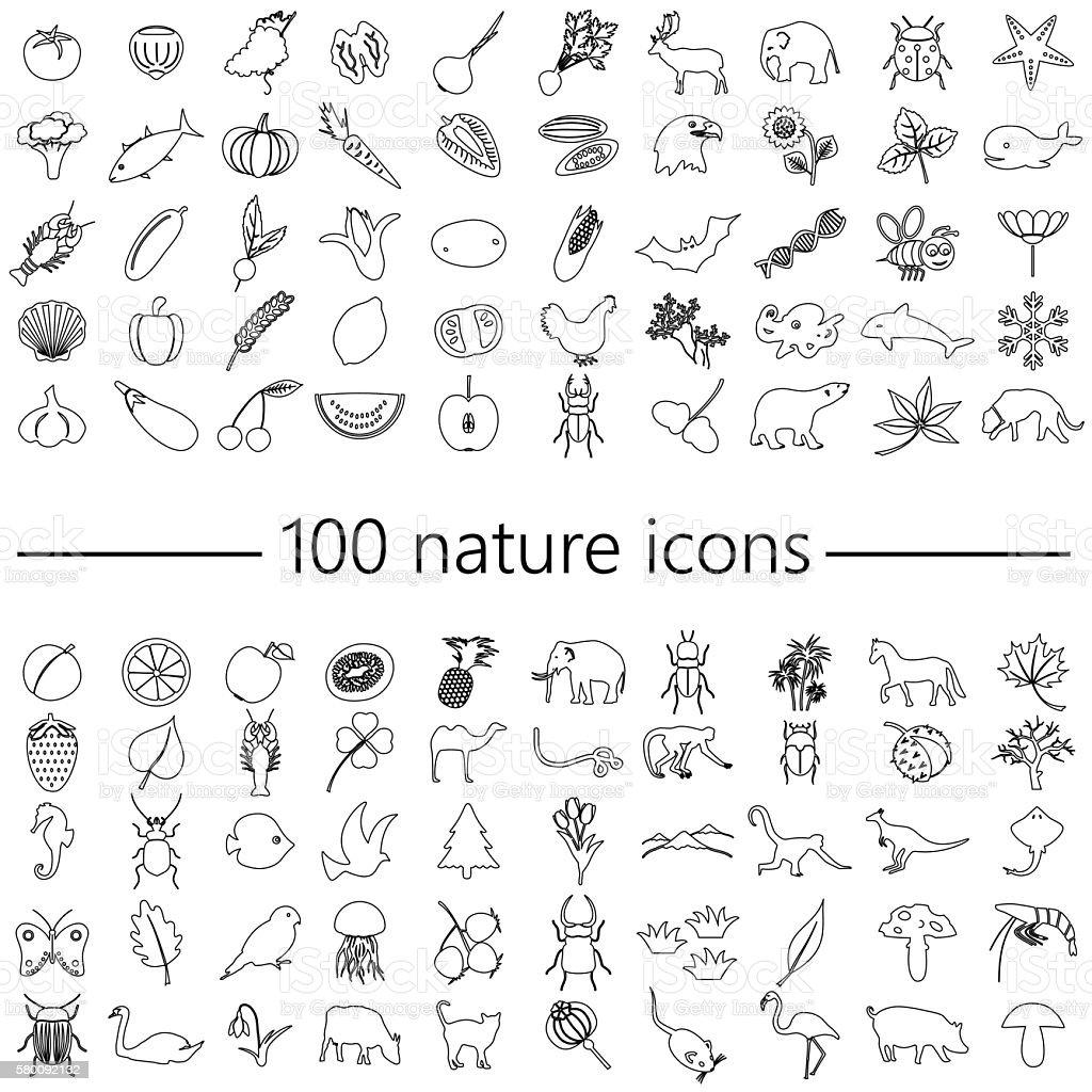 one hundred nature theme outline icons big set eps10 vector art illustration