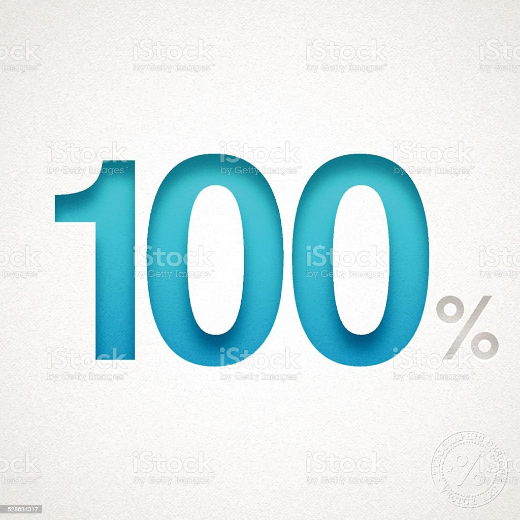 One Hundred Percent (100%) - Blue number on Watercolor Paper vector art illustration