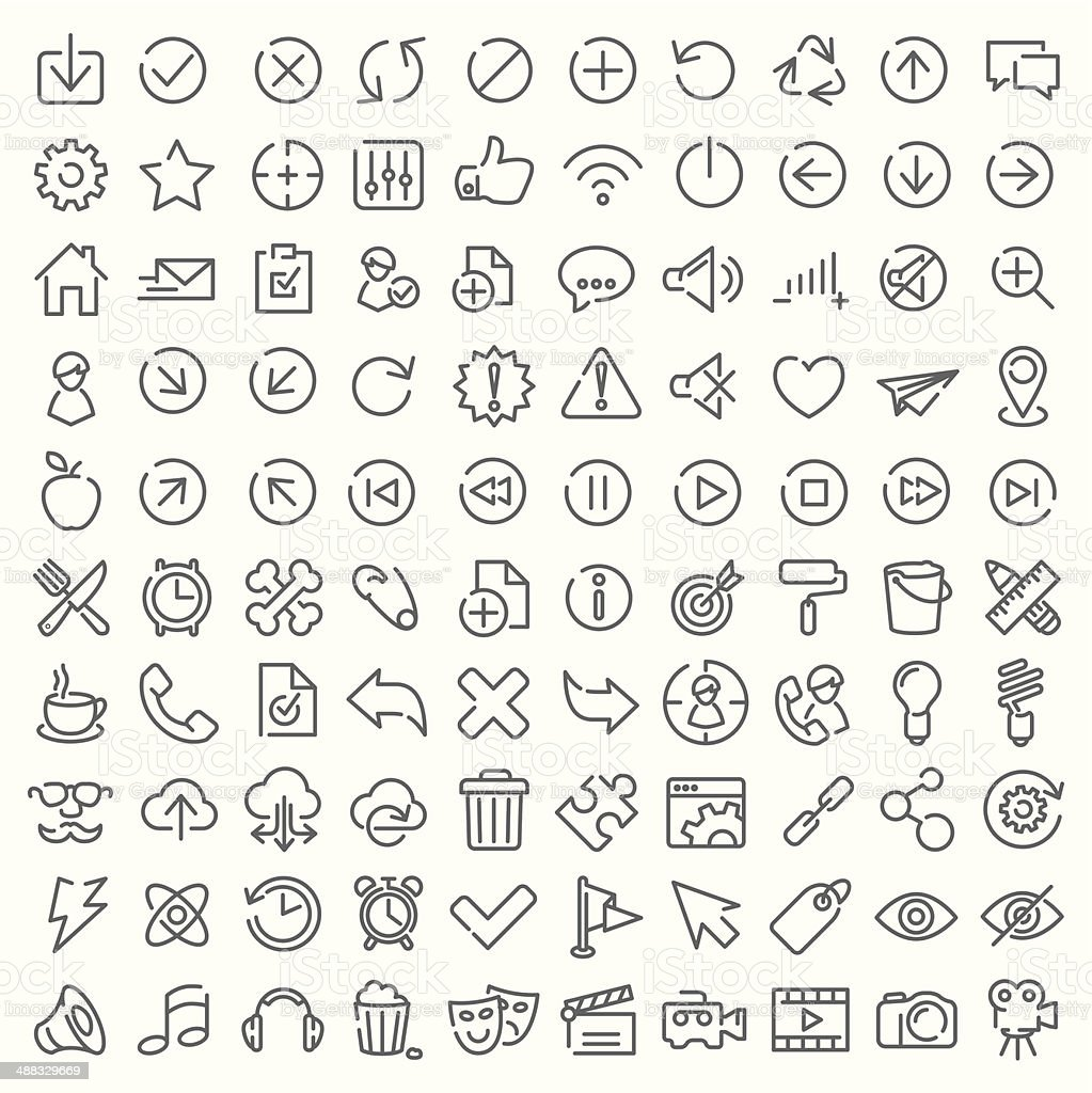 One hundred vector line icons set vector art illustration