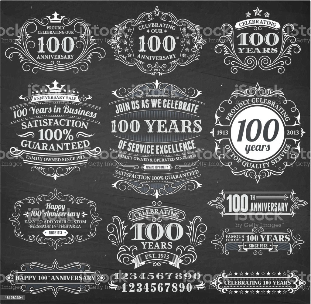 one hundred year anniversary hand-drawn chalkboard royalty free vector background vector art illustration