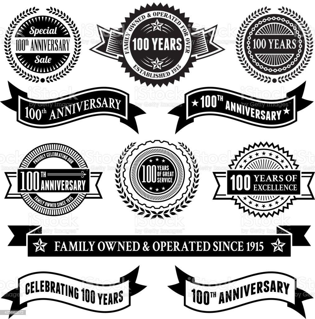 one hundred year anniversary vector badge set  vector background vector art illustration