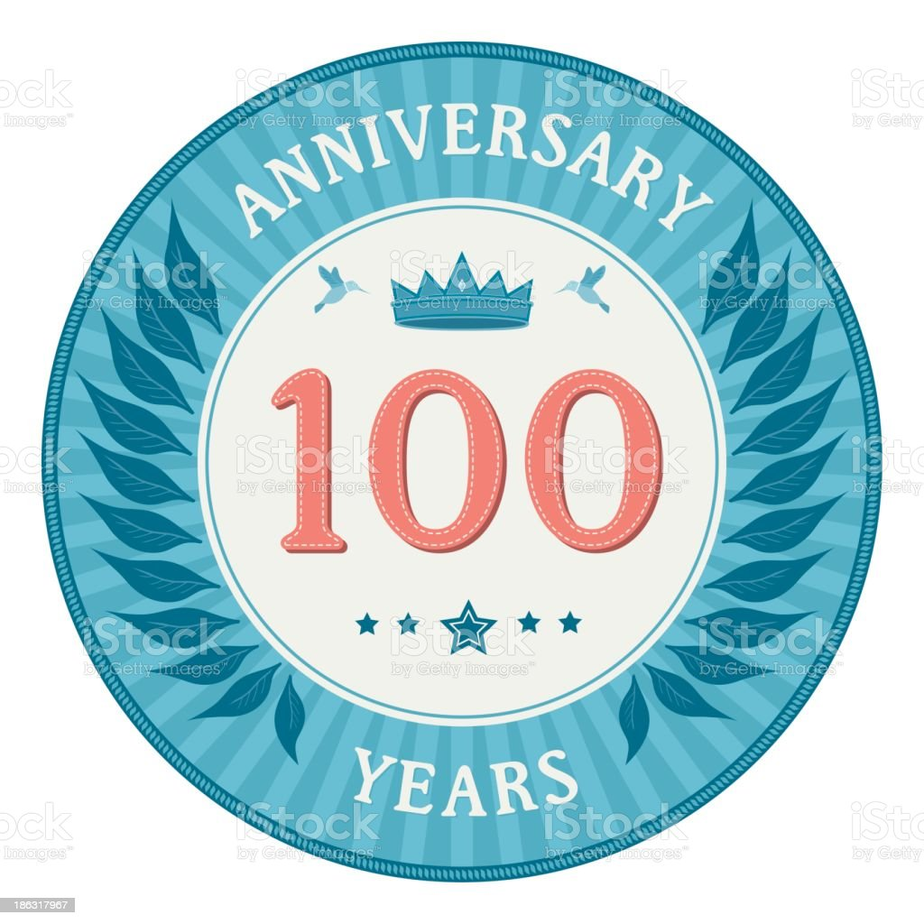 One Hundred Years Anniversary Badge vector art illustration