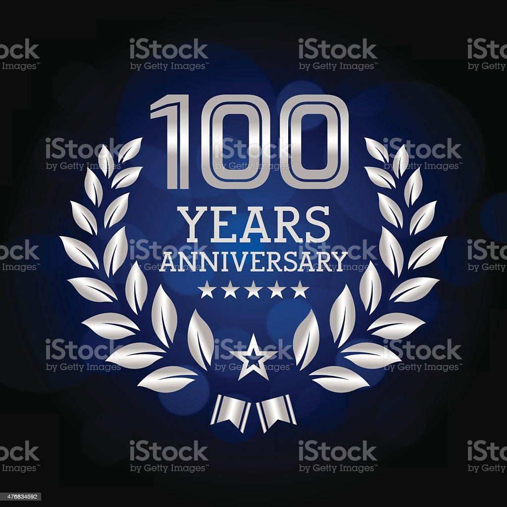 One Hundred Years Anniversary emblem vector art illustration