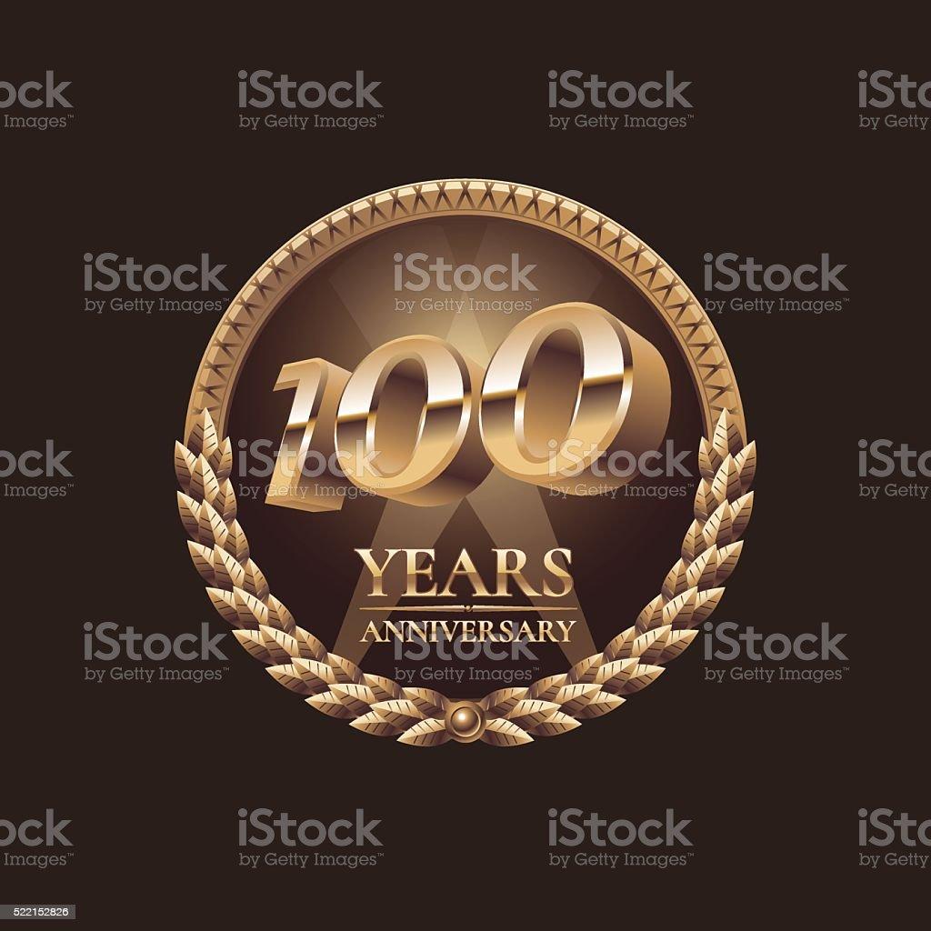 One hundred years anniversary vector icon. 100th celebration design vector art illustration