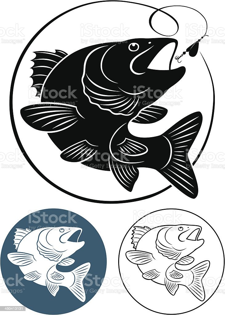 One large and two small cartoon images of predatory fish vector art illustration