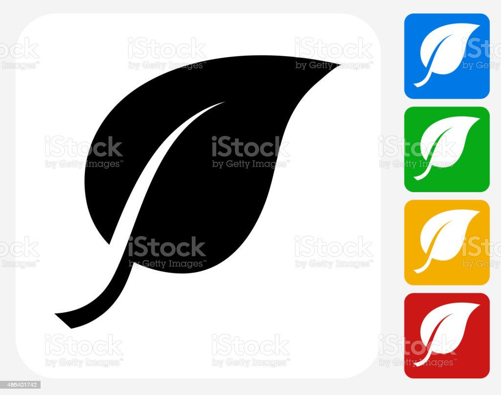 One Leaf Icon Flat Graphic Design vector art illustration