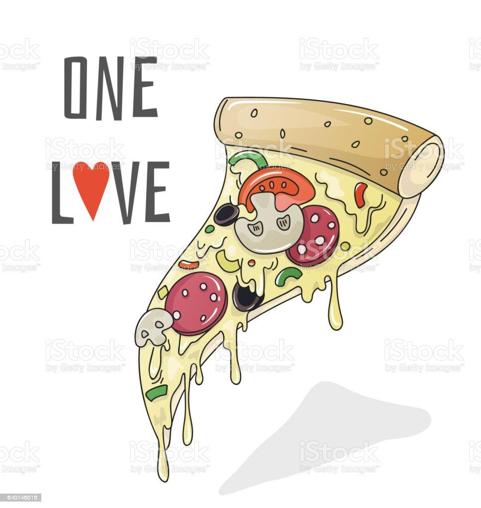 One love pizza, cartoon vector illustration vector art illustration