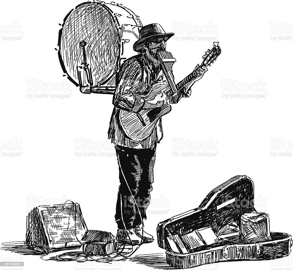 one man band vector art illustration